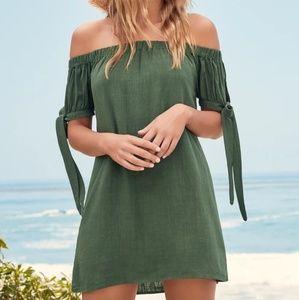 Lulu's | Olive Green Off the Shoulder Dress NEW